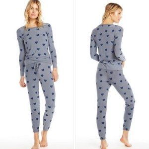 CHASER Blue Hearts Jogger Set Gray Blue Size Small